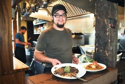 chef Shawn Adler at the Flying Chestnut Kitchen