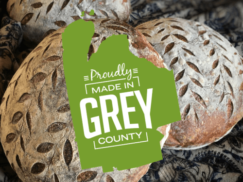 artisan sourdough bread from Doughville bakery and Made in Grey logo