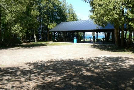 Accessible from the parking lot, the Pavilion is 100 feet from the shoreline