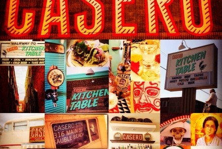 Casero sign and food collage