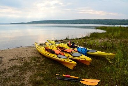 Kayaks on shoreline