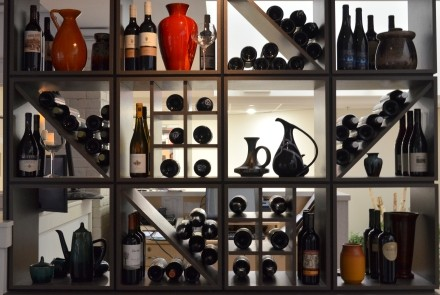 wine rack at The Pottery restaurant