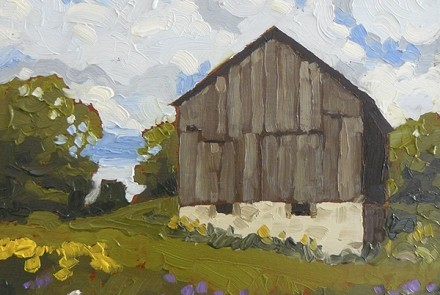 "Village Barn, 6x6"" oil painting by Barbara Pearn"