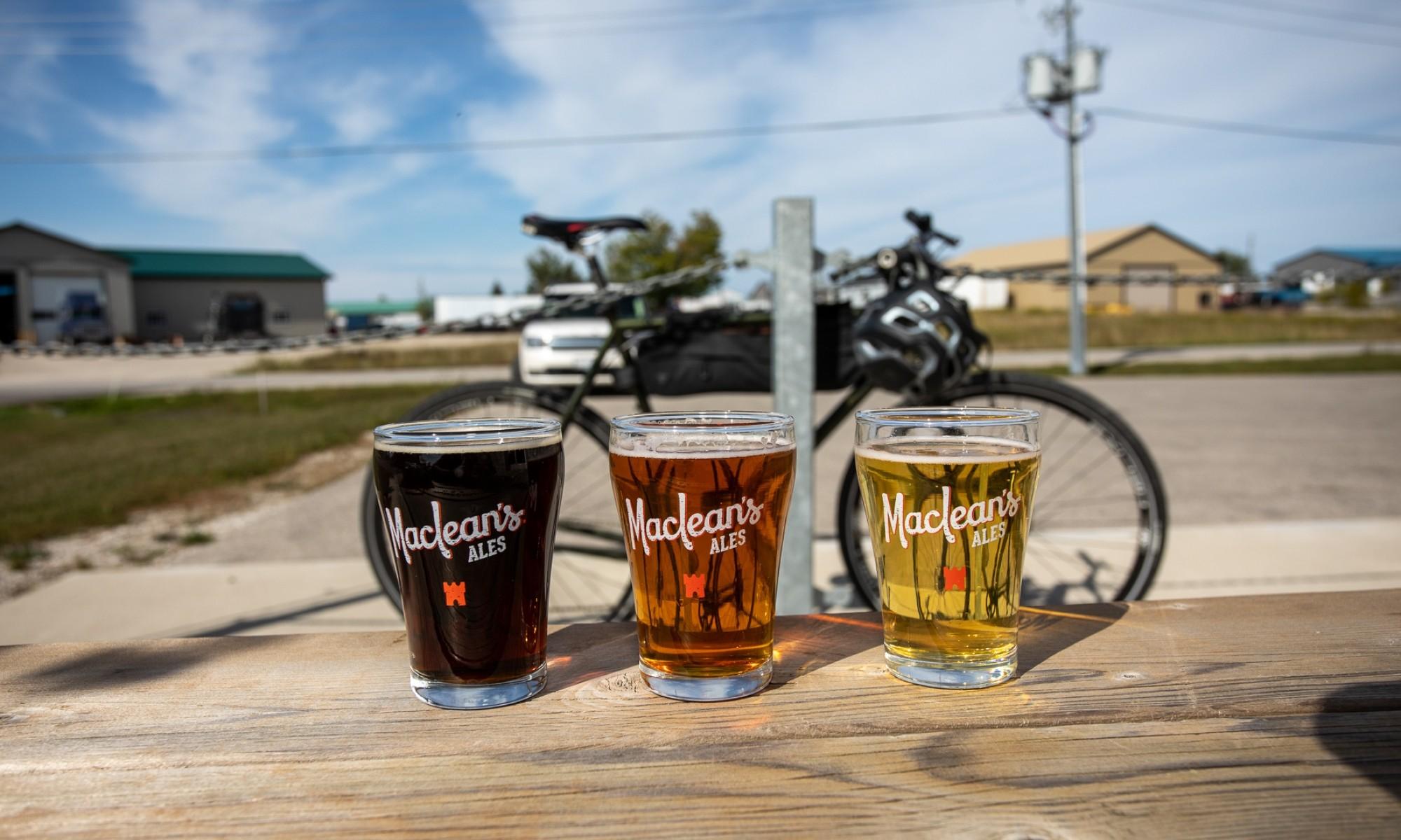 Flight of Beer in front of Bike