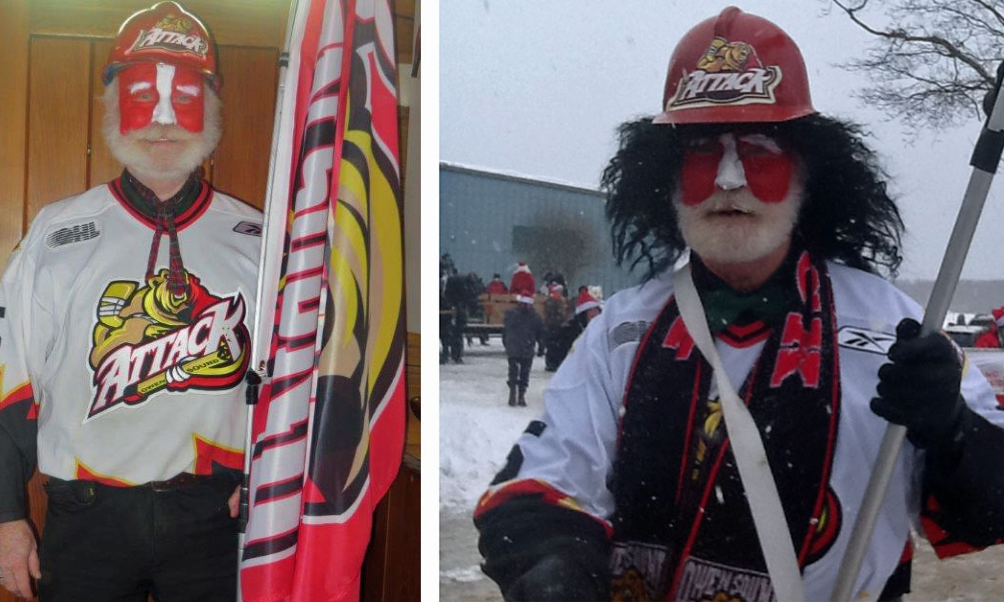 Keith Davidson dressed up for an Owen Sound Attack Hockey game