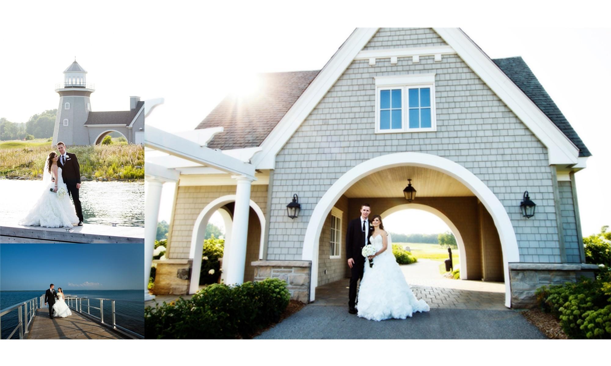 couple wedding photos at golf course