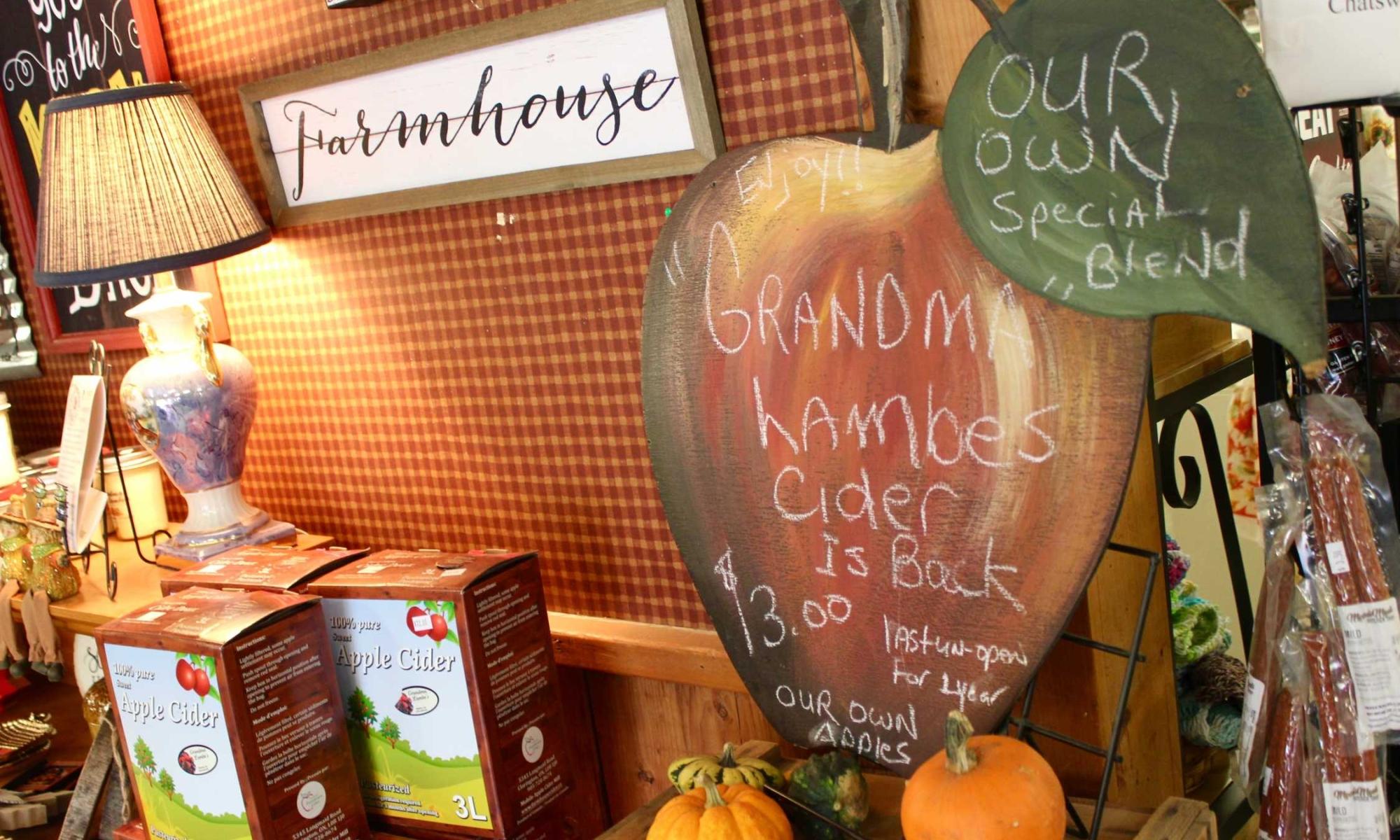Farmhouse signs inside Grandma Lambes