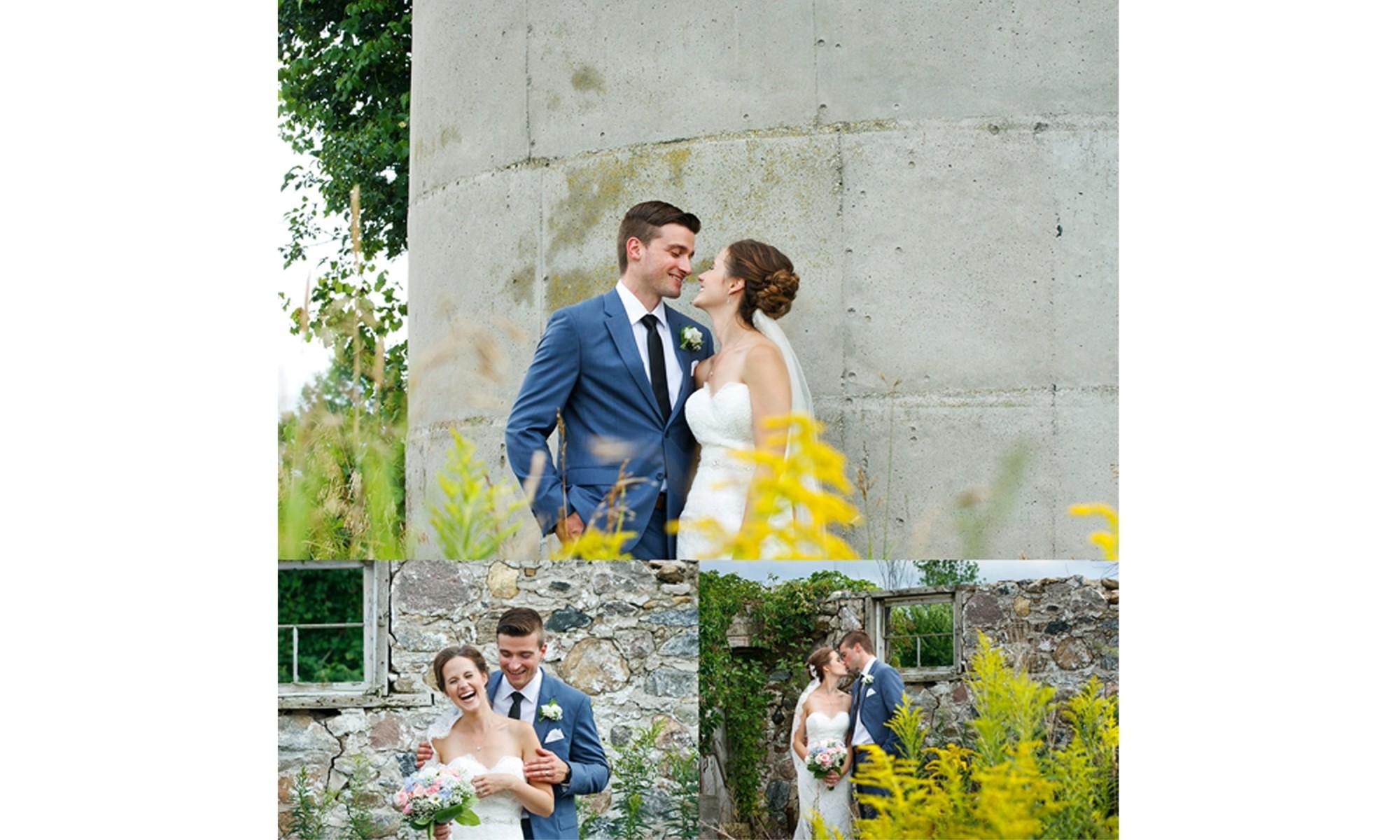 couple wedding photos at a farm